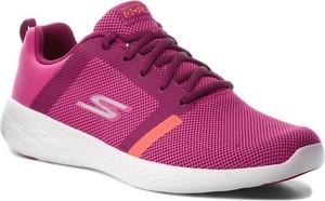 Różowe buty sportowe Skechers w sportowym stylu sznurowane