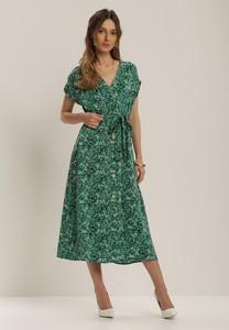 Zielona sukienka Renee midi z krótkim rękawem z dekoltem w kształcie litery v