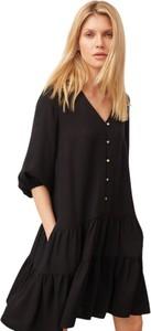 Czarna sukienka ECHO z dekoltem w kształcie litery v z długim rękawem mini