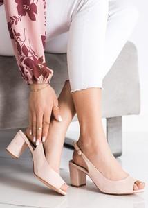 Różowe sandały Czasnabuty z zamszu z klamrami