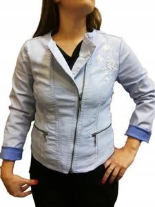Niebieska kurtka Betty Barclay z bawełny w stylu casual krótka