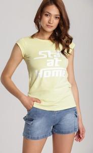 Żółty t-shirt Renee z krótkim rękawem w stylu casual