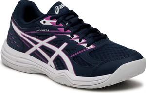 Granatowe buty sportowe ASICS sznurowane ze skóry ekologicznej