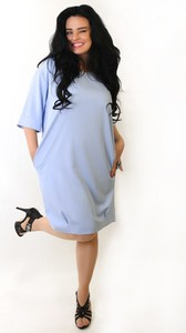 Niebieska sukienka Oscar Fashion oversize w stylu casual z długim rękawem