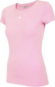 Różowy t-shirt Outhorn z krótkim rękawem z dzianiny w sportowym stylu