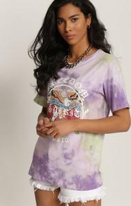 Fioletowa bluzka Renee z okrągłym dekoltem z krótkim rękawem