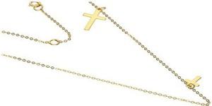 Lovrin Złoty naszyjnik 333 łańcuszek z krzyżykiem 45 cm
