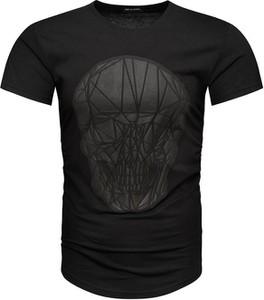 Czarny t-shirt Recea z bawełny