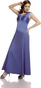 Niebieska sukienka Fokus maxi rozkloszowana z okrągłym dekoltem
