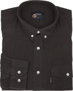Czarna koszula Mr.unique z kołnierzykiem button down z bawełny z długim rękawem