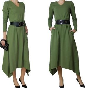 Sukienka Mm Fashion z długim rękawem z tkaniny asymetryczna