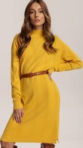 Żółta sukienka Renee z długim rękawem mini w stylu casual