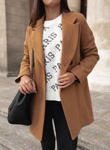 Brązowy płaszcz Sandbella w stylu casual z wełny