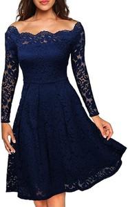 Sukienka Cikelly z dekoltem w łódkę z długim rękawem