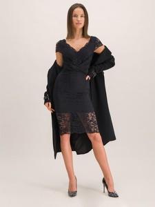 Czarna sukienka Marciano z krótkim rękawem z dekoltem w kształcie litery v kopertowa