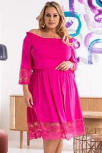 Różowa sukienka KARKO mini hiszpanka z tkaniny