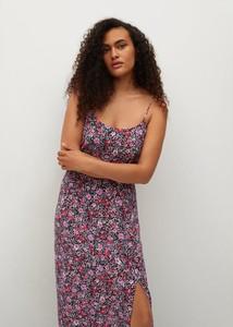 Fioletowa sukienka Mango na ramiączkach z dekoltem w kształcie litery v