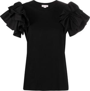 Czarna bluzka Alexander McQueen z okrągłym dekoltem z krótkim rękawem