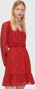 Czerwona sukienka Cropp z szyfonu mini