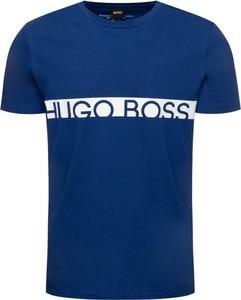 Niebieski t-shirt Boss z krótkim rękawem