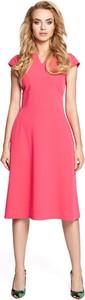 Różowa sukienka MOE z dekoltem w kształcie litery v midi