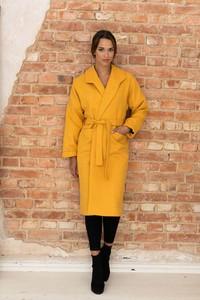 Żółty płaszcz Nommo z wełny bez kaptura