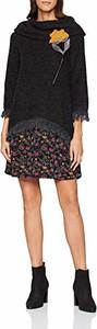 Czarna sukienka amazon.de z dekoltem woda mini w stylu casual