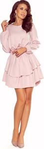 Sukienka NUMOCO mini z długim rękawem z okrągłym dekoltem