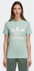 Miętowy t-shirt Adidas z nadrukiem z bawełny