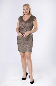 Złota sukienka Ptakmoda.com mini z krótkim rękawem