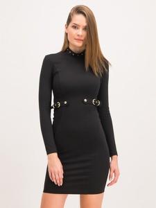 Czarna sukienka Versace Jeans mini z długim rękawem