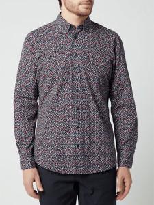 Granatowa koszula Christian Berg Men z klasycznym kołnierzykiem z bawełny