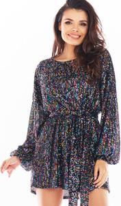 Sukienka Awama z szyfonu z długim rękawem