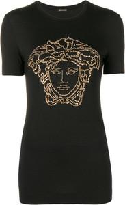 Czarna bluzka Versace z krótkim rękawem