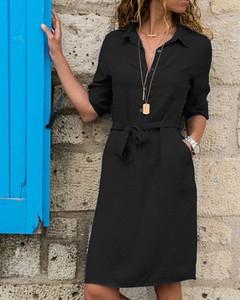 Czarna sukienka Kendallme szmizjerka z długim rękawem