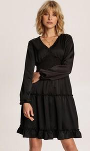 Czarna sukienka Renee z dekoltem w kształcie litery v mini z długim rękawem