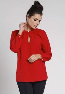 Czerwona bluzka Nommo z dekoltem typu choker z długim rękawem