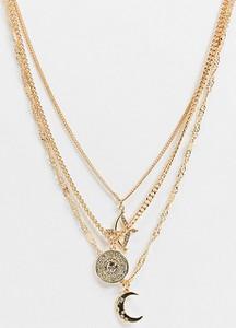 Reclaimed Vintage Inspired – Wielorzędowy naszyjnik w odcieniu złota z astrologicznymi zawieszkami-Złoty