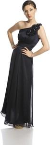 Czarna sukienka Fokus z przeźroczystą kieszenią rozkloszowana