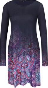 Sukienka Desigual mini z okrągłym dekoltem z długim rękawem