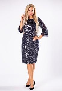 Sukienka Moda Dla Ciebie midi z okrągłym dekoltem