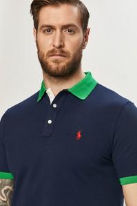 Granatowa koszulka polo POLO RALPH LAUREN w stylu casual z krótkim rękawem