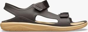 Czarne buty letnie męskie Crocs z klamrami