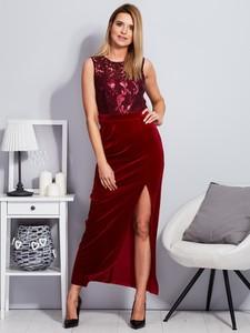 Czerwona sukienka Factory Price bez rękawów z weluru