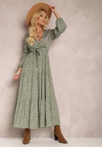 Zielona sukienka Renee z dekoltem w kształcie litery v z długim rękawem kopertowa