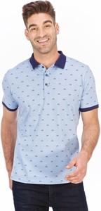 Niebieski t-shirt Lanieri Fashion z krótkim rękawem