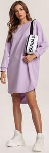 Fioletowa sukienka Renee mini z długim rękawem w stylu casual