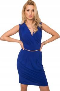 Niebieska sukienka Inna z dekoltem w kształcie litery v