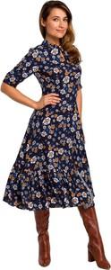 Niebieska sukienka Style w stylu casual z długim rękawem