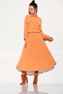 Pomarańczowa sukienka Lemoniade z długim rękawem maxi